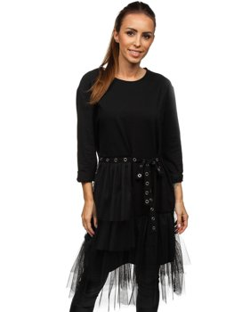 Czarna z nadrukiem sukienka damska Denley 30655