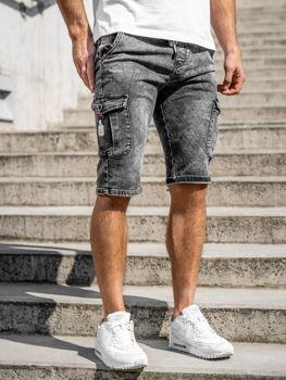 Czarne jeansowe krótkie spodenki męskie bojówki Denley KR1201