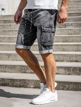 Czarne jeansowe krótkie spodenki męskie bojówki Denley KR1206