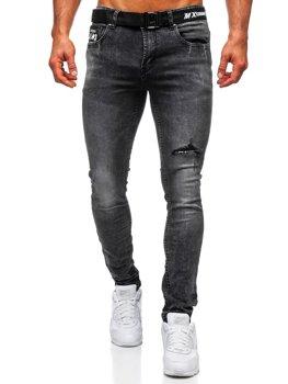 Czarne jeansowe spodnie z paskiem męskie slim fit Denley 60026W0