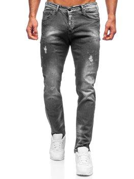 Czarne spodnie jeansowe męskie regular fit Denley 4006