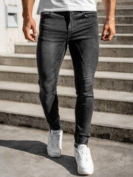 Czarne spodnie jeansowe męskie regular fit Denley T331
