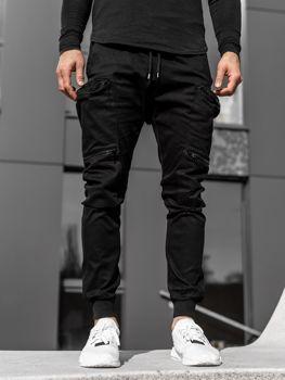 Czarne spodnie joggery bojówki męskie Denley 0475
