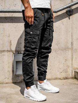 Czarne spodnie joggery bojówki męskie Denley CT6703