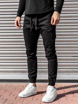 Czarne spodnie joggery męskie Denley 11104