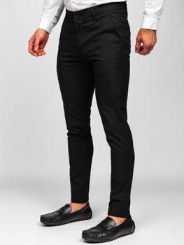 Czarne spodnie materiałowe chinosy męskie Denley 0017