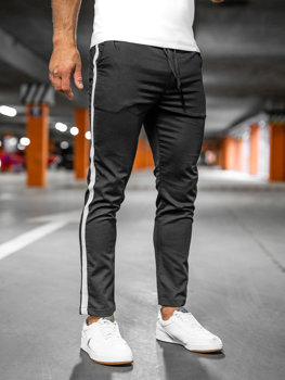 Czarne spodnie materiałowe joggery męskie Denley 0013