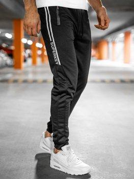 Czarne spodnie męskie dresowe Denley JX9502