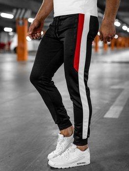 Czarne spodnie męskie dresowe joggery Denley HL8985