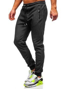 Czarno-białe dresowe spodnie męskie Denley Q1054