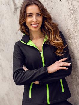 Czarno-zielona kurtka damska przejściowa softshell Denley HH018