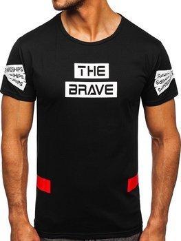 Czarny T-shirt męski z nadrukiem Denley KS2325