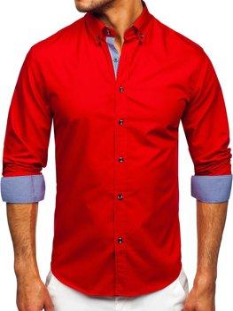 Czerwona koszula męska z długim rękawem Bolf 20719