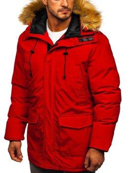 Czerwona kurtka męska zimowa parka  Denley 1176
