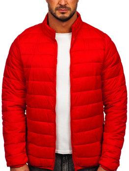 Czerwona pikowana przejściowa kurtka męska Denley LY33