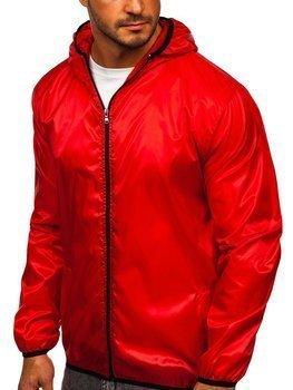 Czerwona przejściowa kurtka męska wiatrówka z kapturem BOLF 5060