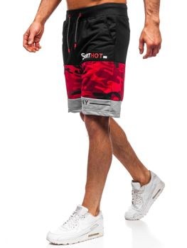Czerwone dresowe krótkie spodenki męskie Denley KK300155