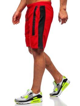 Czerwone dresowe krótkie spodenki męskie Denley KS2521