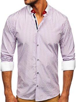 Fioletowa koszula męska w paski z długim rękawem Bolf 20727