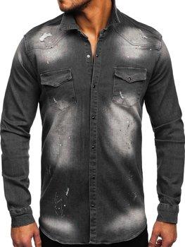 Grafitowa koszula męska jeansowa z długim rękawem Denley R710