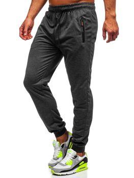 Grafitowe spodnie męskie dresowe Denley CE008