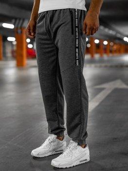 Grafitowe spodnie męskie dresowe Denley JX1017
