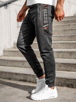 Grafitowe spodnie męskie dresowe Denley JX8115