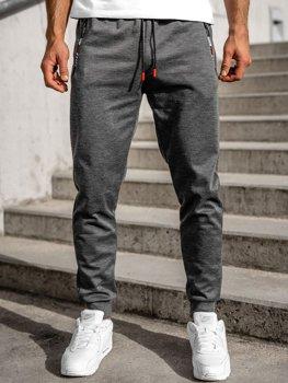 Grafitowe spodnie męskie dresowe Denley JX8565