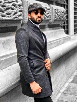 Grafitowy płaszcz męski zimowy Denley 0010