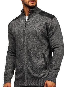 Grafitowy sweter męski ze stójką rozpinany Denley H2057