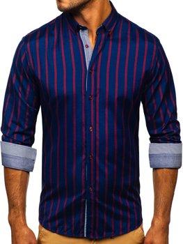 Granatowa koszula męska w paski z długim rękawem Bolf 20705