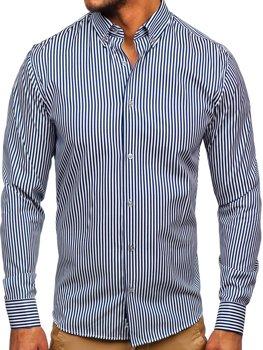 Granatowa koszula męska w paski z długim rękawem Bolf 20726