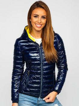 Granatowa pikowana kurtka damska przejściowa z kapturem Denley R9546