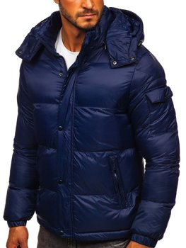 Granatowa pikowana kurtka męska zimowa Denley 1161