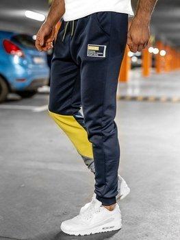 Granatowe dresowe spodnie męskie Denley K20003