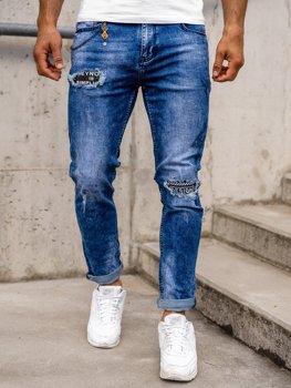 Granatowe jeansowe spodnie męskie slim fit Denley 85001S0