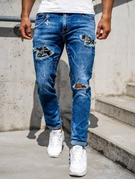 Granatowe jeansowe spodnie męskie slim fit Denley 85004S0