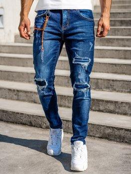 Granatowe jeansowe spodnie męskie slim fit Denley R85019W0