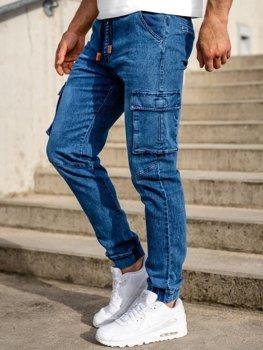 Granatowe spodnie jeansowe joggery bojówki męskie Denley HY893