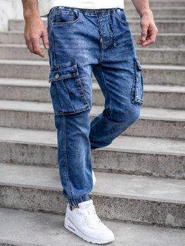 Granatowe spodnie jeansowe joggery bojówki męskie Denley K10005