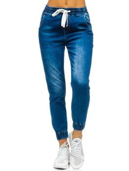 Granatowe spodnie jeansowe joggery damskie Denley SJ103
