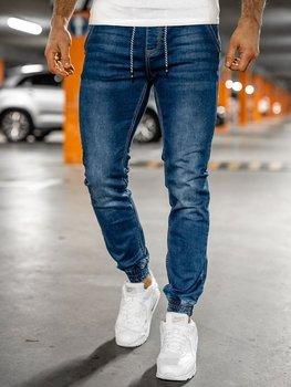 Granatowe spodnie jeansowe joggery męskie Denley KA2191