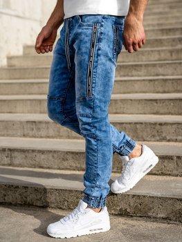 Granatowe spodnie jeansowe joggery męskie Denley TF051