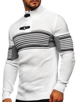 Gruby biały sweter męski ze stójką Denley 1029