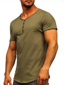 Khaki bez nadruku koszulka męska w serek Bolf 4049