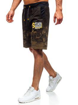 Khaki dresowe krótkie spodenki męskie Denley KK300151
