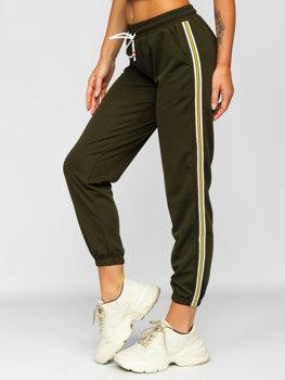 Khaki spodnie dresowe damskie Denley YW01020B