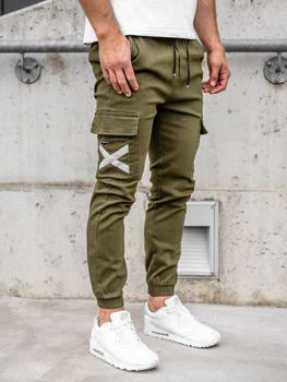Khaki spodnie joggery bojówki męskie Denley KA1910