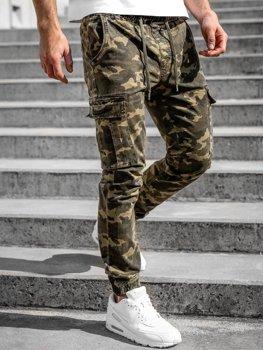 Khaki spodnie joggery bojówki męskie Denley KA2122
