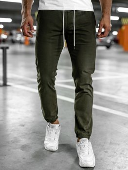 Khaki spodnie męskie joggery Denley 1145